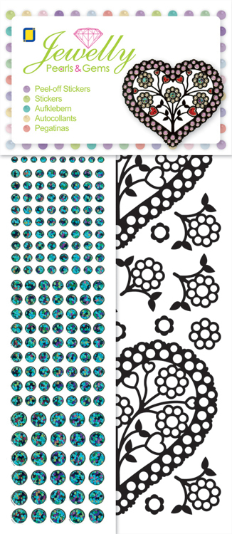 Jewelly Pearls & Gems, Black Hearts , 5 sheets