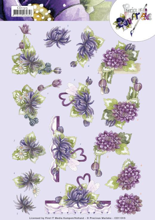 3D Cutting Sheet -Precious Marieke - Purple Dahlias