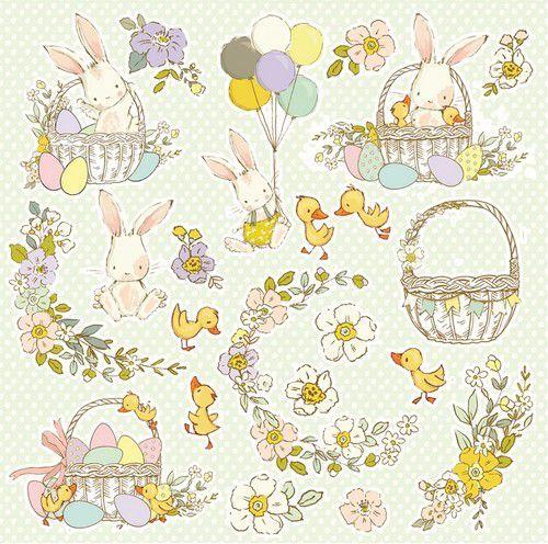 Craft&You Hopping Bunnies Scrapbooking single paper 12x12 CP-HBU07 (02-21)