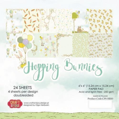Craft&You Hopping Bunnies Small Paper Pad 6x6 36 vel CPB-HBU15 (02-21)