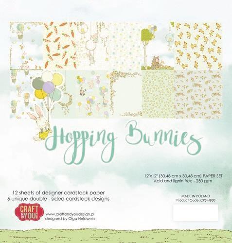 Craft&You Hopping Bunnies Big Paper Set 12x12 12 vel CPS-HBU30 (02-21)