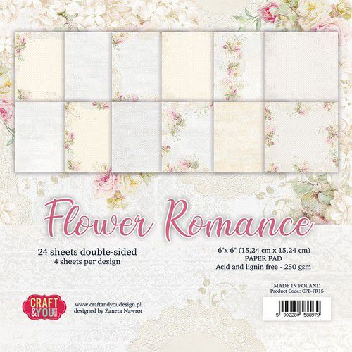 Craft&You Flower Romance Small Paper Pad 6x6 36 vel CPB-FR15 (02-21)