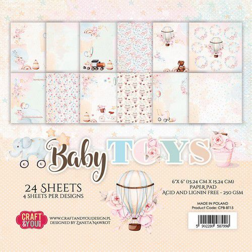 Craft&You Baby Toys Small Paper Pad 6x6 36 vel CPB-BT15 (02-21)