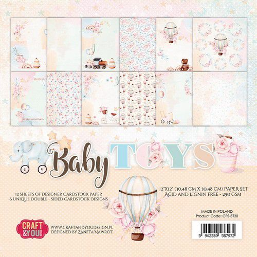 Craft&You Baby Toys Big Paper Set 12x12 12 vel CPS-BT30 (02-21)