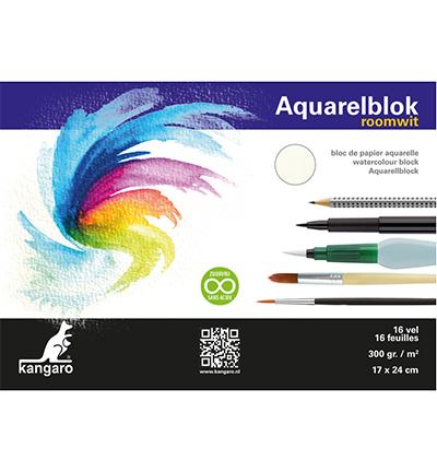 Blok aquarelpapier Kangaro, roomwit