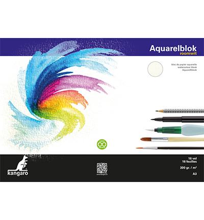 Blok aquarelpapier Kangaro, roomwit, 3 zijden gelijmd