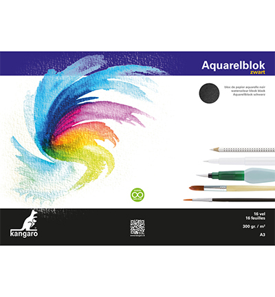 Blok aquarelpapier Kangaro, zwart, 3 zijden verlijmd