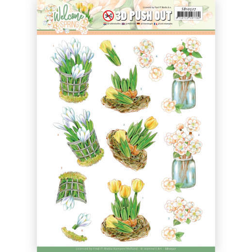 3D Push Out - Jeanine's Art  Welcome Spring - Yellow Tulips