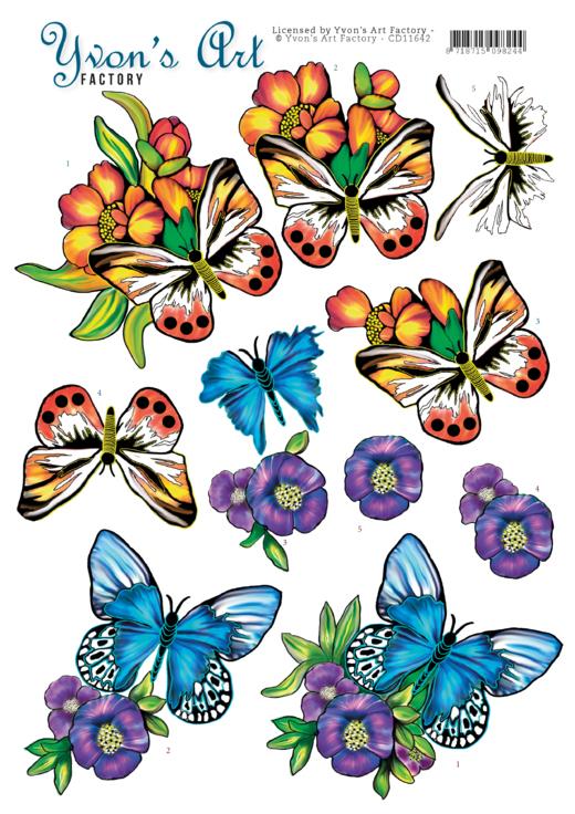 3D Cutting Sheet - Yvon's Art - Butterflies Blue