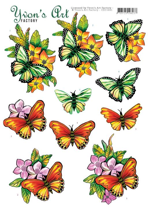 3D Cutting Sheet - Yvon's Art - Butterflies orange