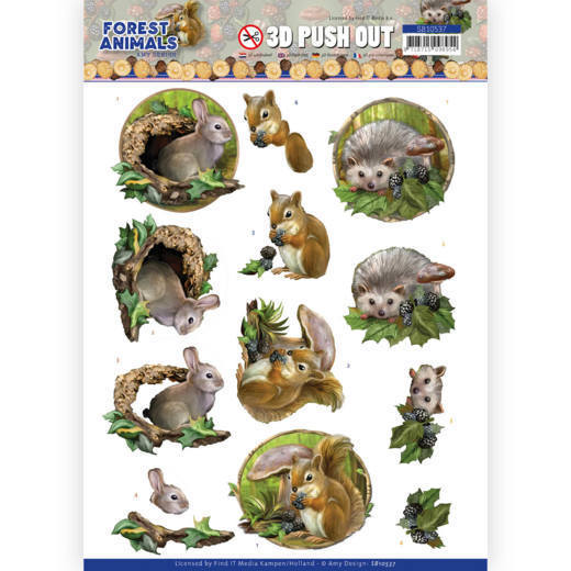 3D Push Out - Amy Design  Forest Animals -Rabbit