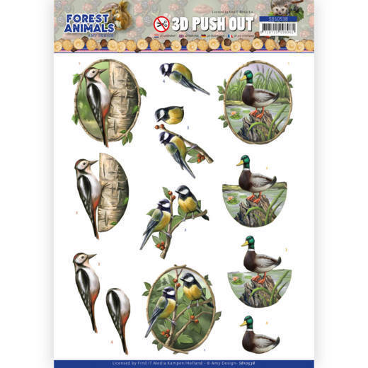 3D Push Out - Amy Design  Forest Animals - Woodpecker