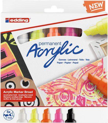 edding-5000 Acrylic Marker set Neon 5 ST 5-10mm / 4-5000-5 (02-21)