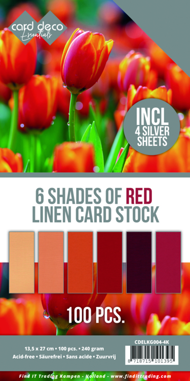 6 Shades of Red Linen Card Stock - 4K