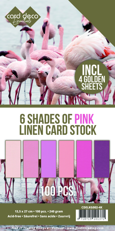 6 Shades of Pink Linen Card Stock - 4K