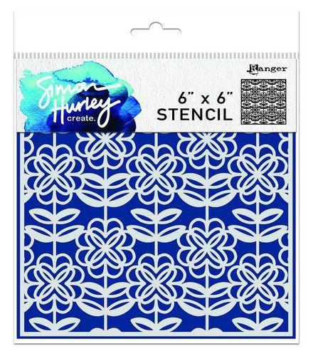 Ranger SH Stencils 6x6 Flower Power HUS75493 Simon Hurley (03-21)