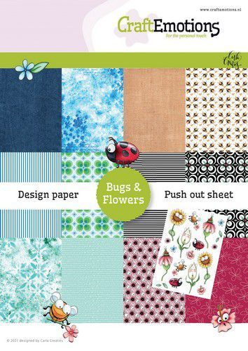 CraftEmotions Design Paper Bugs & flowers 12 vel + push out vel - A5 A5 12+1 (03-21)