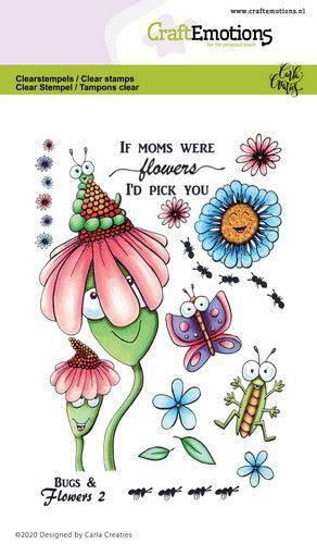 CraftEmotions clearstamps A6 - Bugs & flowers 2 Carla Creaties (03-21)