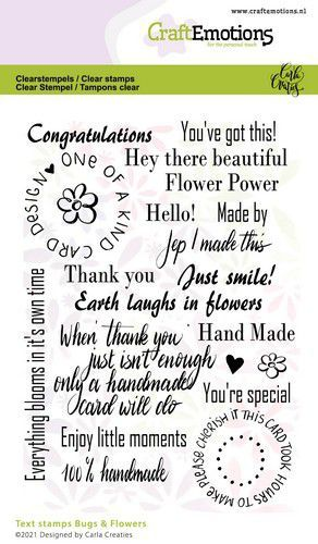 CraftEmotions clearstamps A6 - Bugs & flowers tekst (Eng) Carla Creaties (03-21)