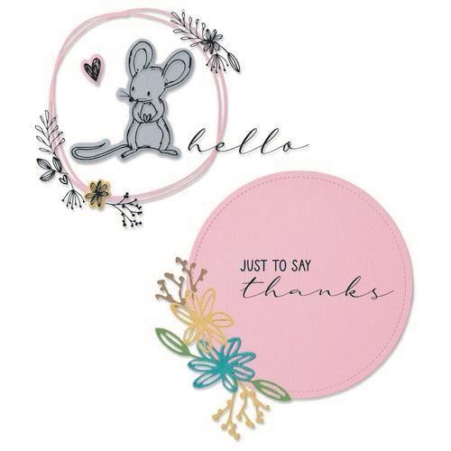 Sizzix Framelits Die Set 8PK w/Stamps Hello Mouse 665175 Lisa Jones (04-21)