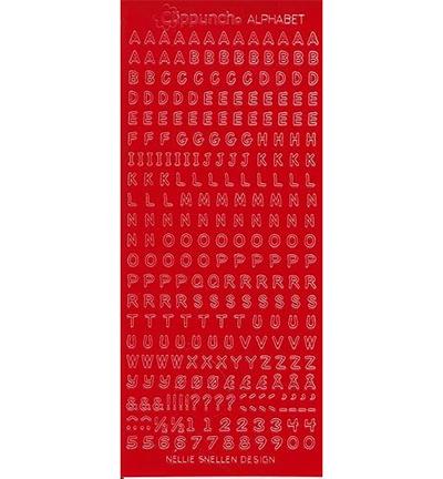 Alphabet stickers dark red