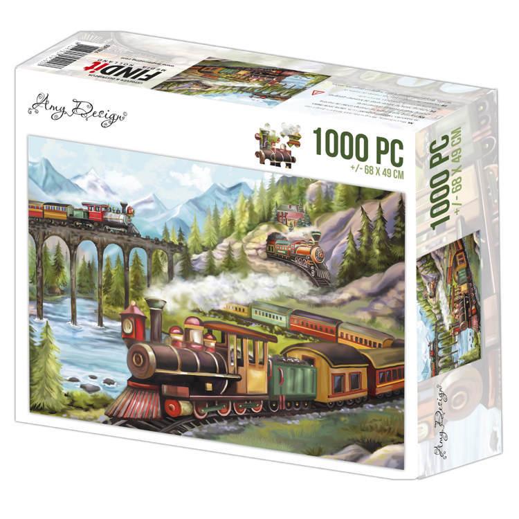 Jigsaw puzzel 1000 pc - Amy Design -Trains