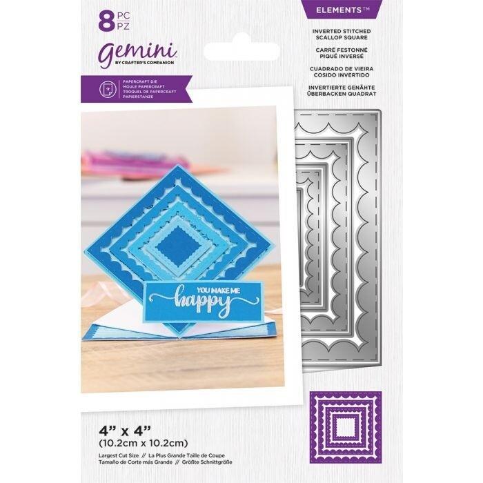 Gemini Elements Nesting snijmallen - Omgekeerde Stitched Scallop Square