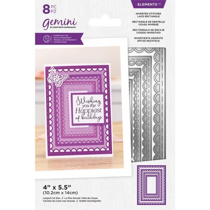 Gemini Elements Nesting snijmallen - Omgekeerde Stitched Lace Rectangle