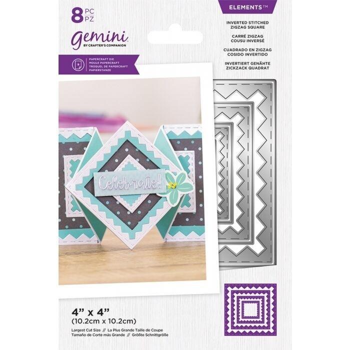 Gemini Elements Nesting snijmallen - Omgekeerde Stitched ZigZag Square