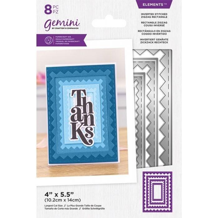 Gemini Elements Nesting snijmallen - Omgekeerde Stitched ZigZag Rectangle