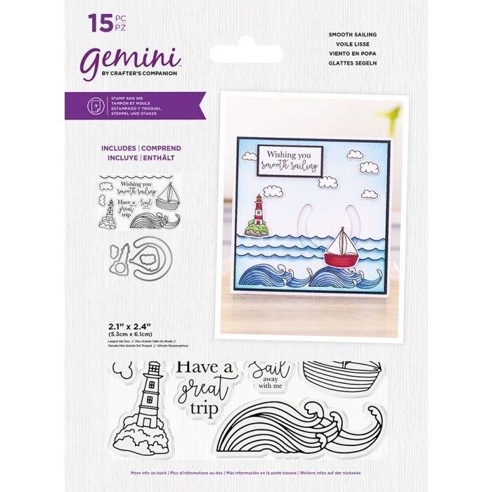 Gemini Clearstamp&snijmal set - Penny Sliders - Smooth Sailing