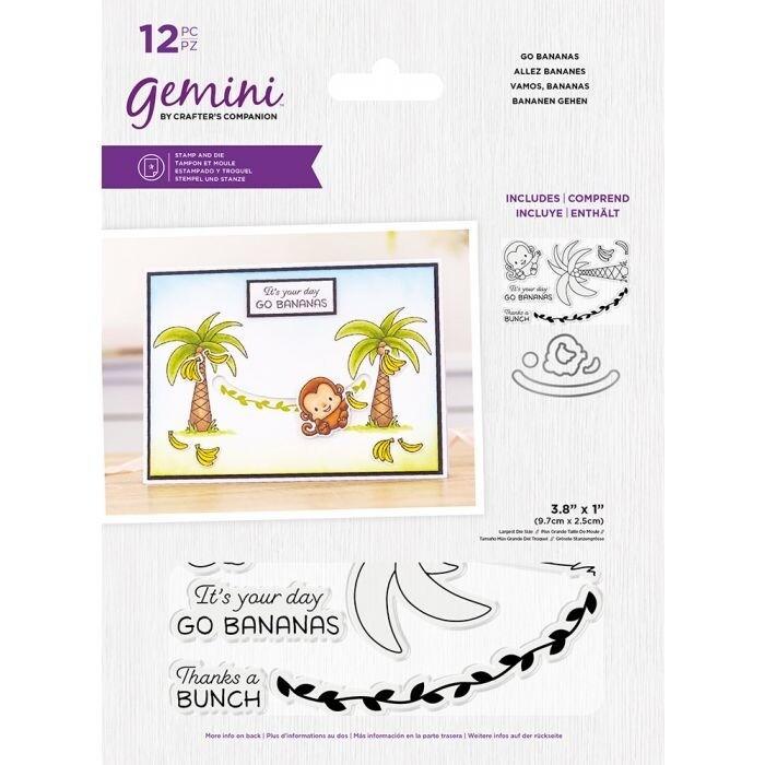 Gemini Clearstamp&snijmal set - Penny Sliders - Go Bananas