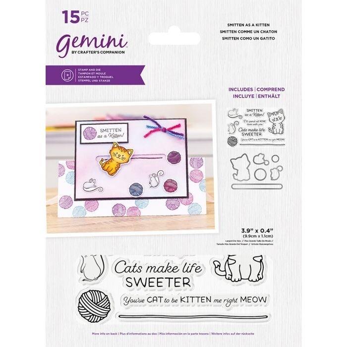 Gemini Clearstamp&snijmal set - Penny Sliders - Smitten As A Kitten