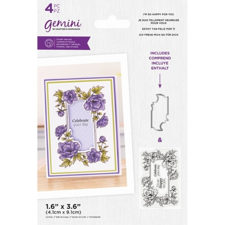 Gemini Clearstamp&snijmal set - Floral Frame - I'm so Happy For You