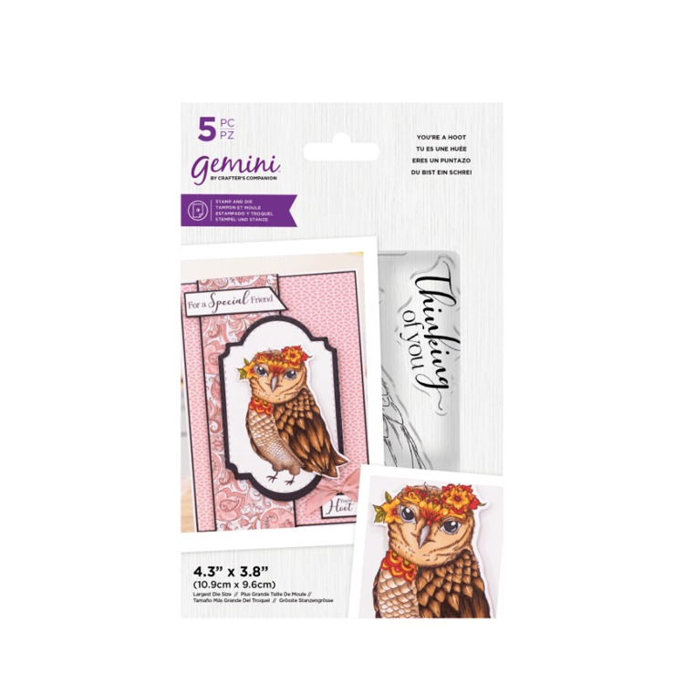 Gemini Clearstamp&snijmal set - Illustrated Amimals - You're a Hoot