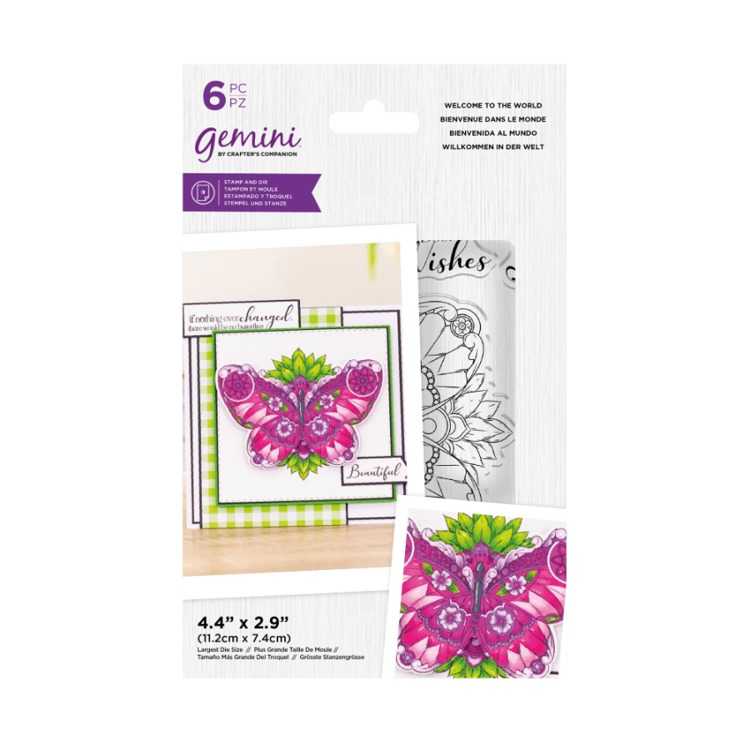 Gemini Clearstamp&snijmal set - Illustrated Amimals - Welcome to the World