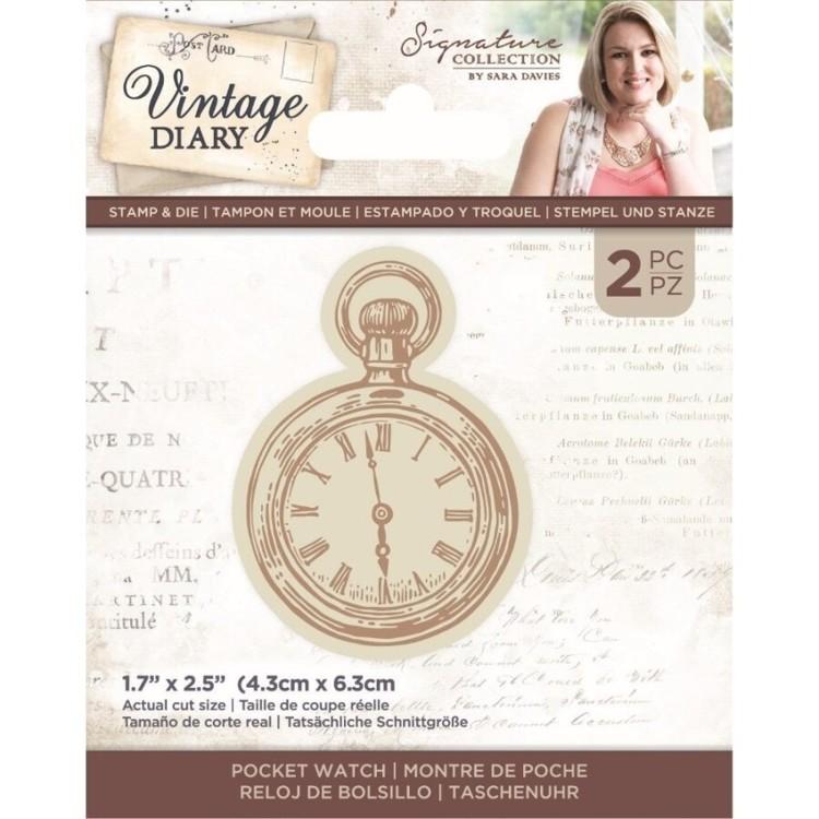 Vintage Diary - Clearstamp&snijmal set - Pocket Watch