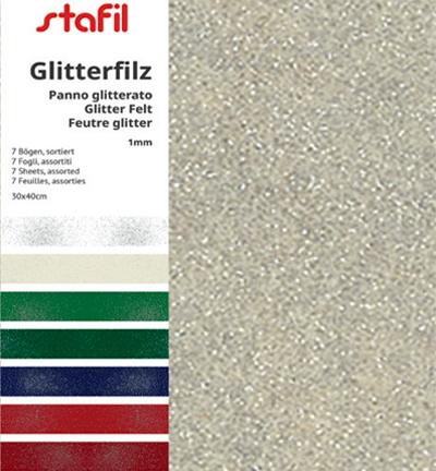 Felt glitter, Set 7 colors