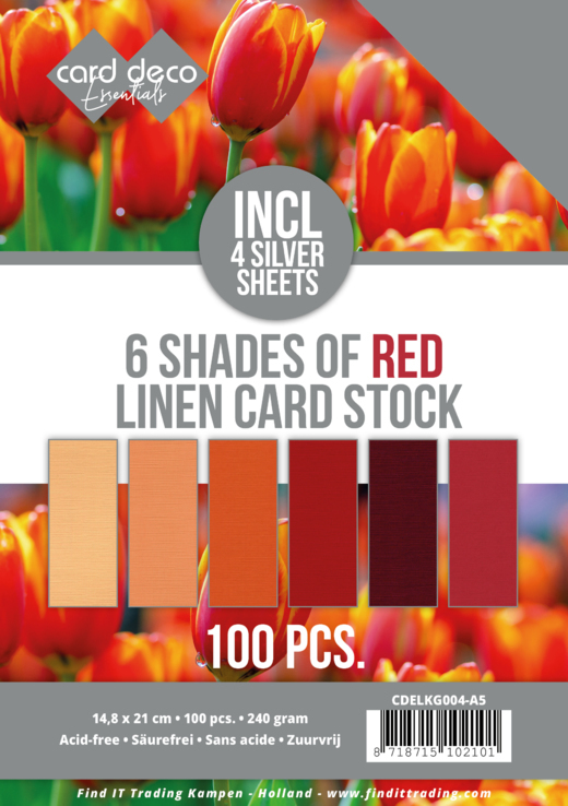 6 Shades of red Linen Card Stock - A5
