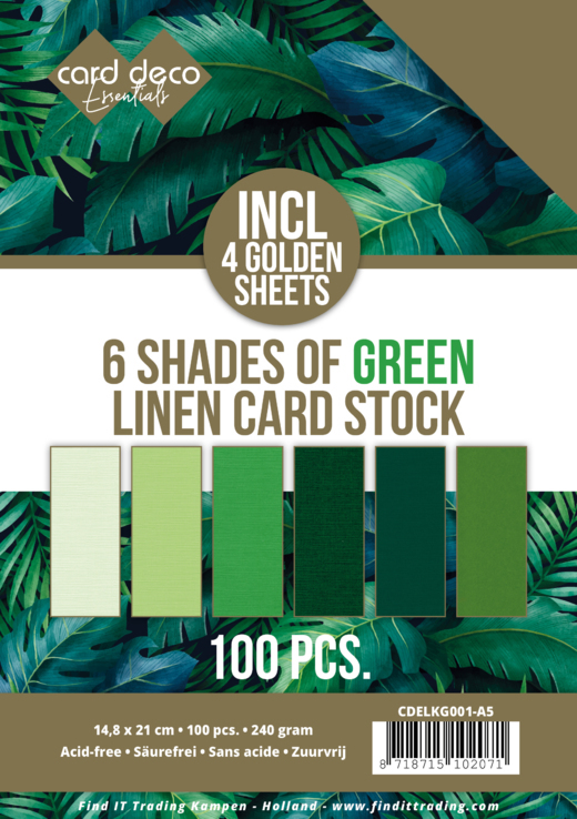 6 Shades of green Linen Card Stock - A5