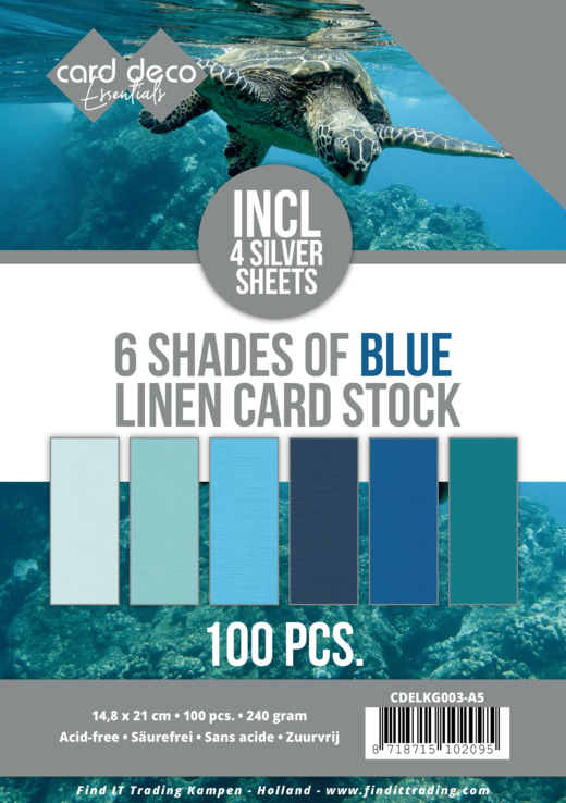 6 Shades of blue Linen Card Stock - A5