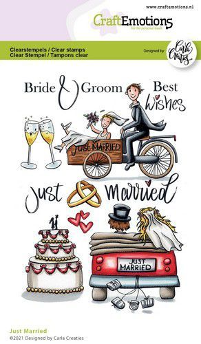 CraftEmotions clearstamps A6 - Just Married (Eng) Carla Creaties (04-21)