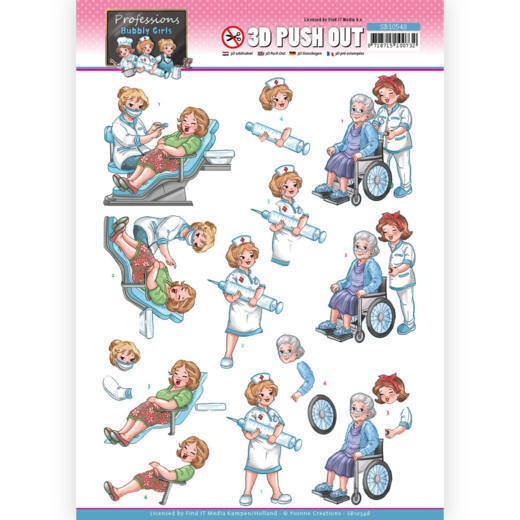 3D Push Out - Yvonne Creations - Bubbly Girls Professions - Nurse
