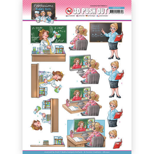 3D Push Out - Yvonne Creations - Bubbly Girls Professions - Teacher