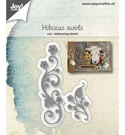 6002/1227 Snij-embosstencil Hibiscus Swirls,
