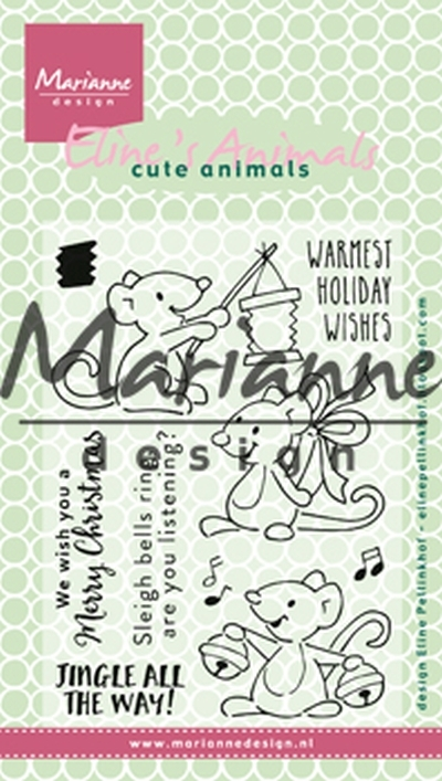Marianne Design clear stamps Ec0174 Eline's Christmas mice