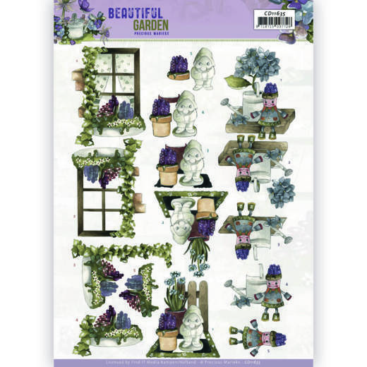 3D Cutting Sheet - Precious Marieke - Beautiful Garden - Garden Gnome