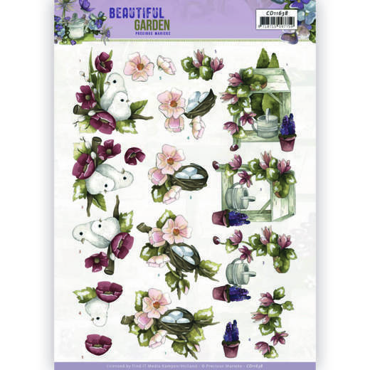 3D Cutting Sheet - Precious Marieke - Beautiful Garden - Pigeon