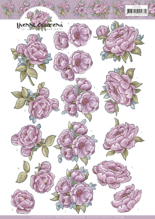3D Cutting Sheet - Yvonne Creations - Pink Rose