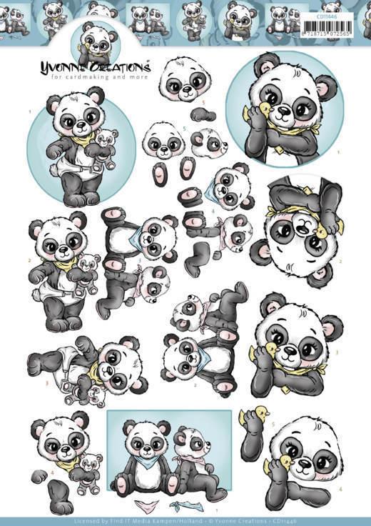 3D Cutting Sheet - Yvonne Creations - Panda Hugs